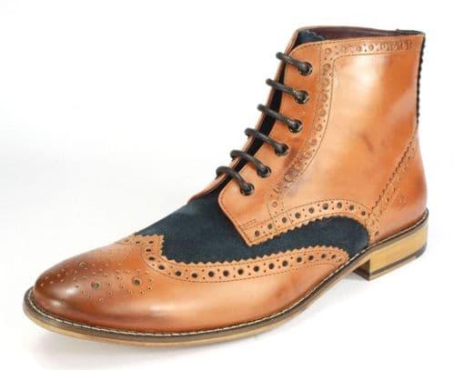 London Brogues Gatsby Hi Tan / Navy Lace Boots
